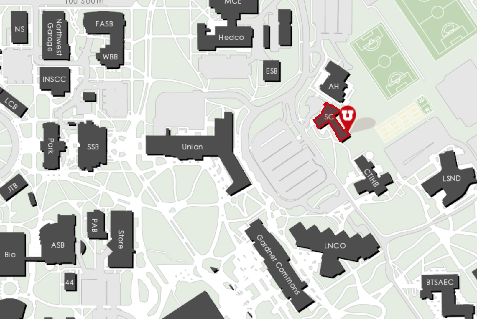 Campus map showing where the Sill Center is located